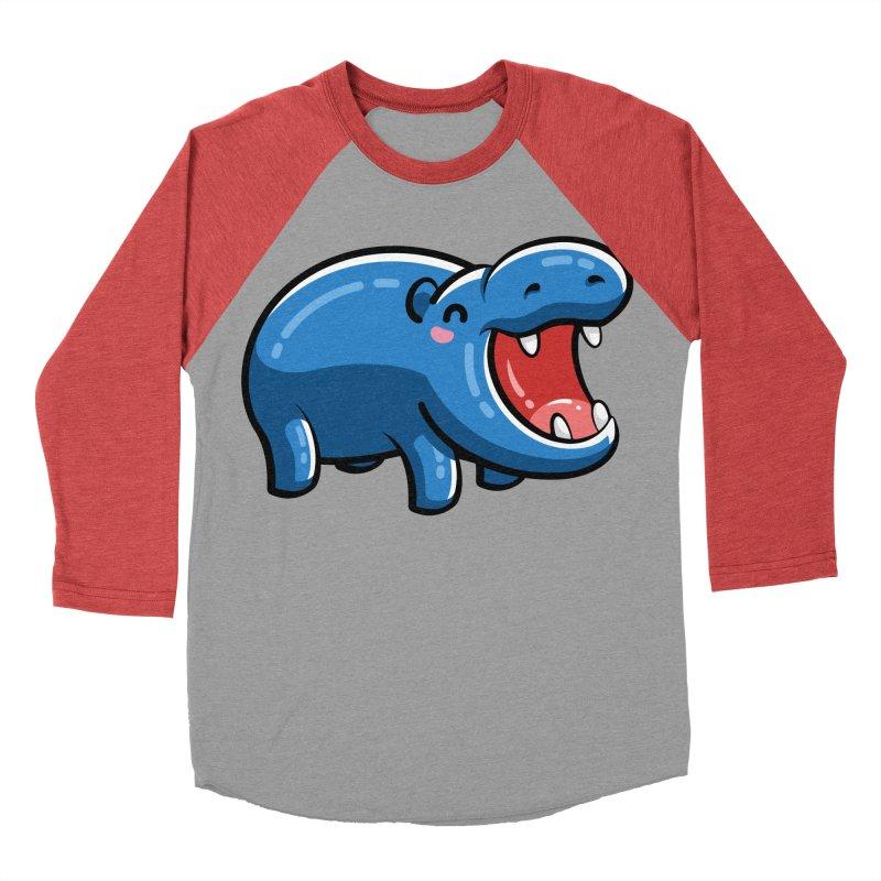 Cute Happy Hippo Women's Baseball Triblend Longsleeve T-Shirt by Flaming Imp's Artist Shop