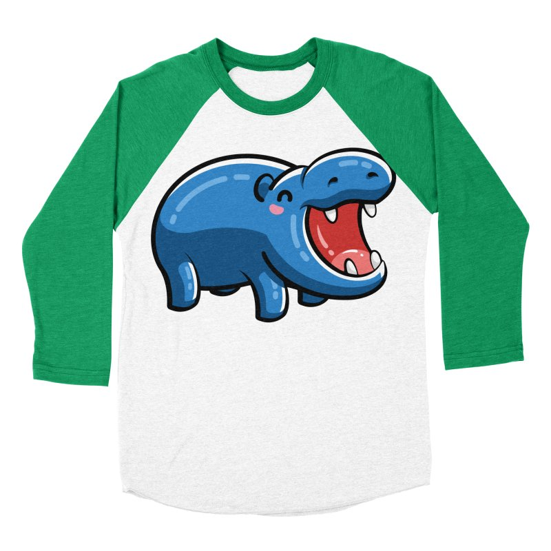 Cute Happy Hippo Men's Baseball Triblend Longsleeve T-Shirt by Flaming Imp's Artist Shop