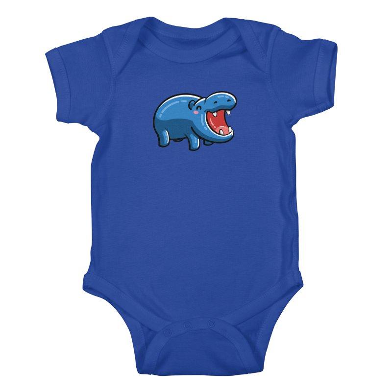 Cute Happy Hippo Kids Baby Bodysuit by Flaming Imp's Artist Shop