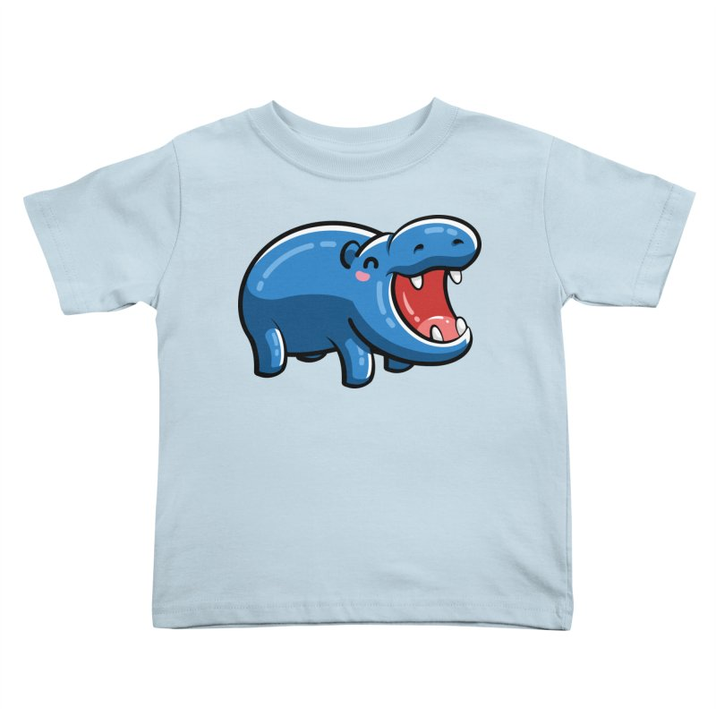 Cute Happy Hippo Kids Toddler T-Shirt by Flaming Imp's Artist Shop