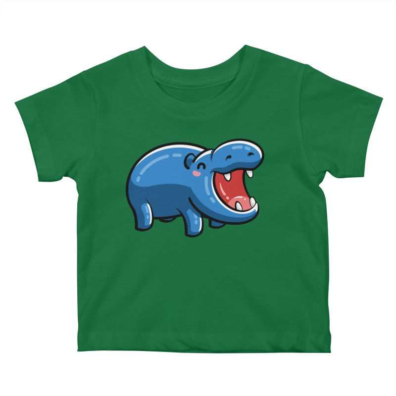 Cute Happy Hippo Kids Baby T-Shirt by Flaming Imp's Artist Shop
