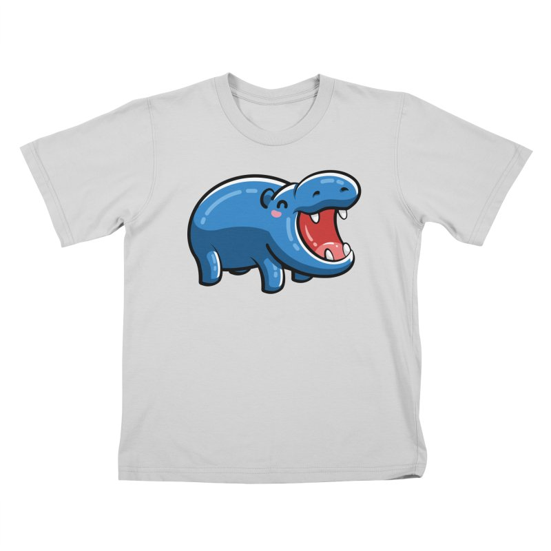 Cute Happy Hippo Kids T-Shirt by Flaming Imp's Artist Shop
