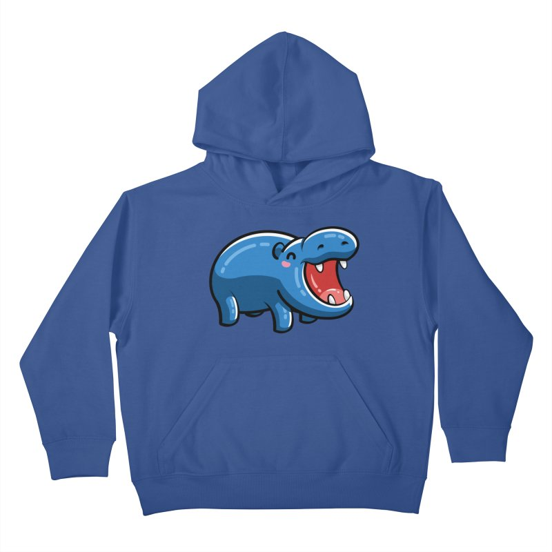 Cute Happy Hippo Kids Pullover Hoody by Flaming Imp's Artist Shop