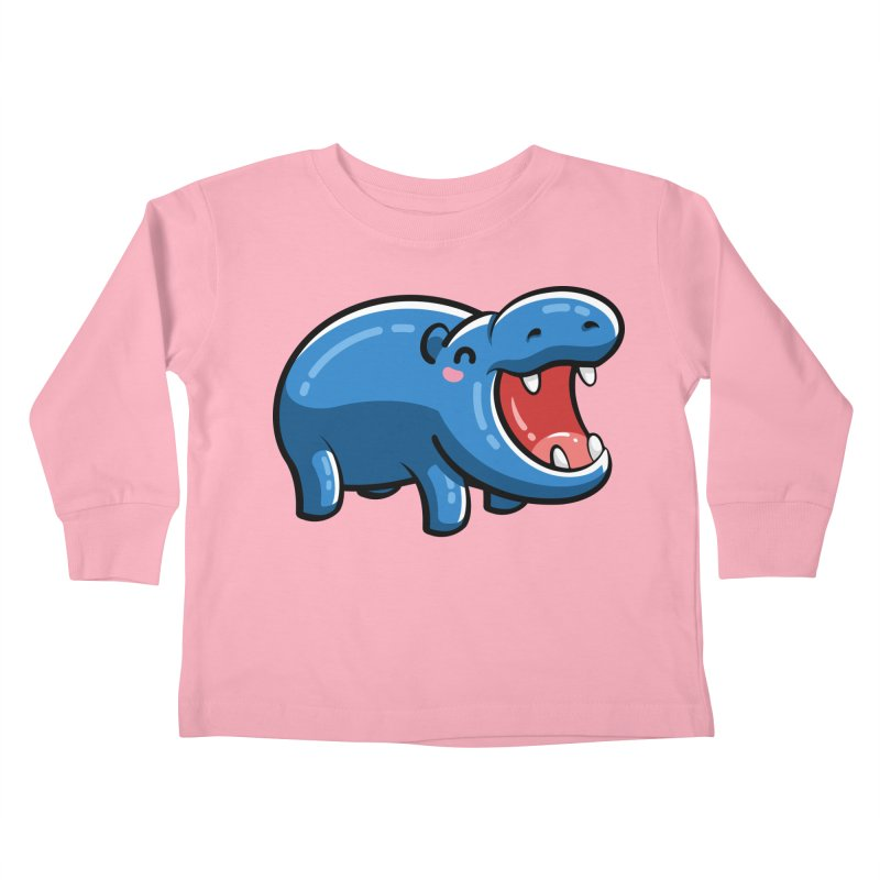 Cute Happy Hippo Kids Toddler Longsleeve T-Shirt by Flaming Imp's Artist Shop