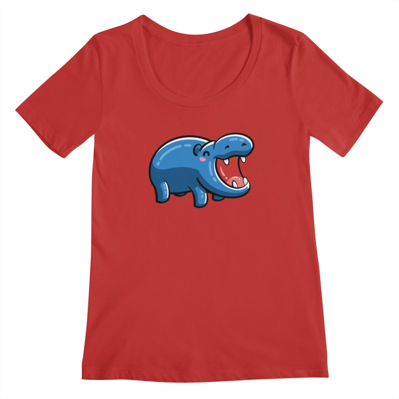 Cute Happy Hippo Women's Regular Scoop Neck by Flaming Imp's Artist Shop