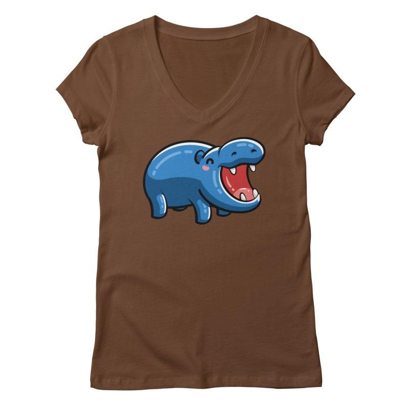 Cute Happy Hippo Women's Regular V-Neck by Flaming Imp's Artist Shop