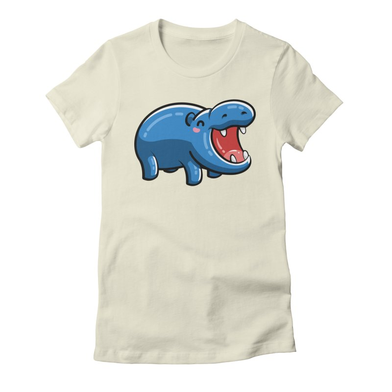 Cute Happy Hippo Women's Fitted T-Shirt by Flaming Imp's Artist Shop
