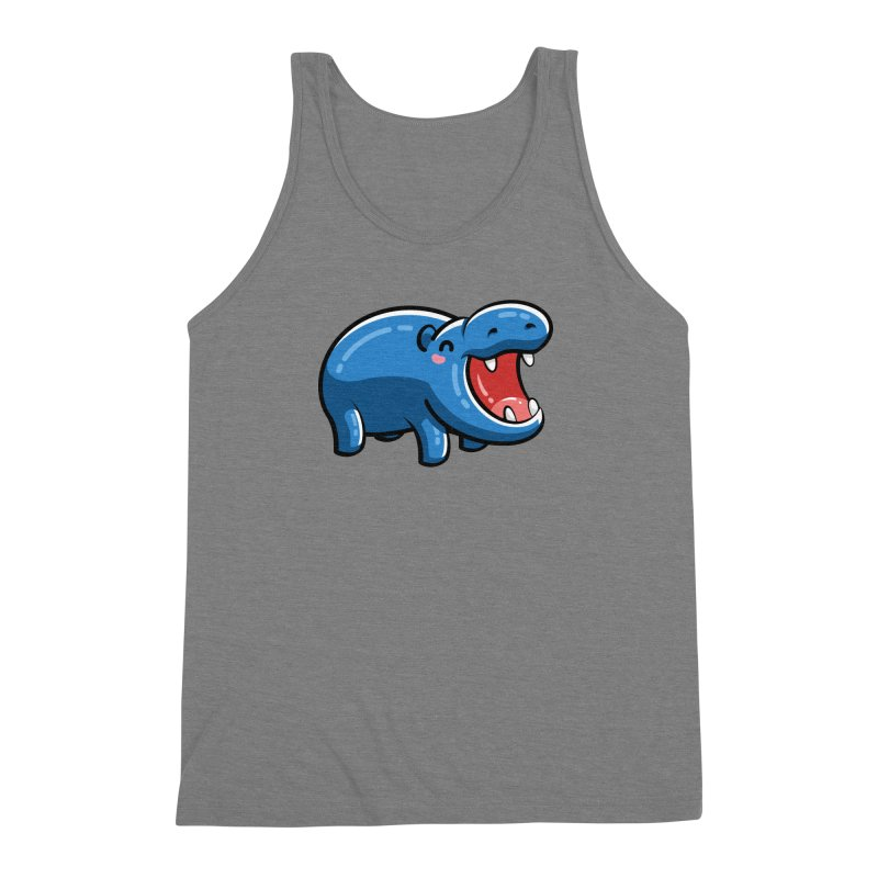 Cute Happy Hippo Men's Triblend Tank by Flaming Imp's Artist Shop