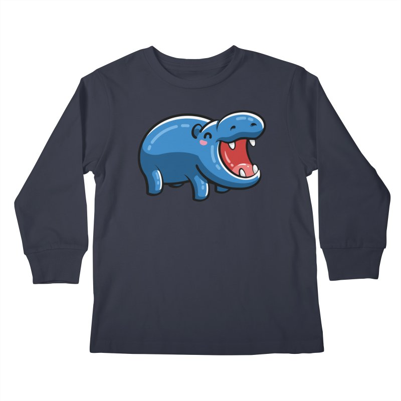 Cute Happy Hippo Kids Longsleeve T-Shirt by Flaming Imp's Artist Shop