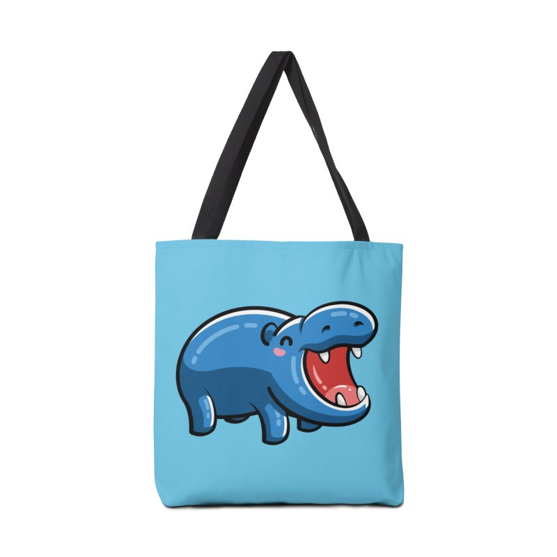 Cute Happy Hippo Accessories Tote Bag Bag by Flaming Imp's Artist Shop