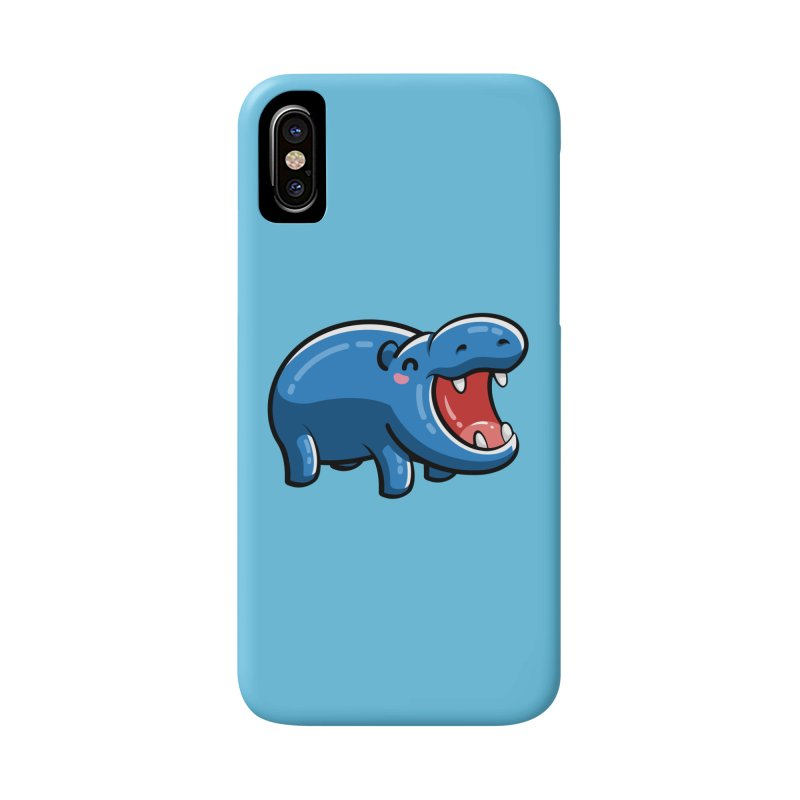 Cute Happy Hippo Accessories Phone Case by Flaming Imp's Artist Shop