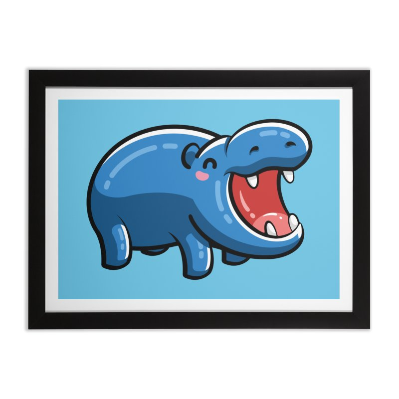 Cute Happy Hippo Home Framed Fine Art Print by Flaming Imp's Artist Shop