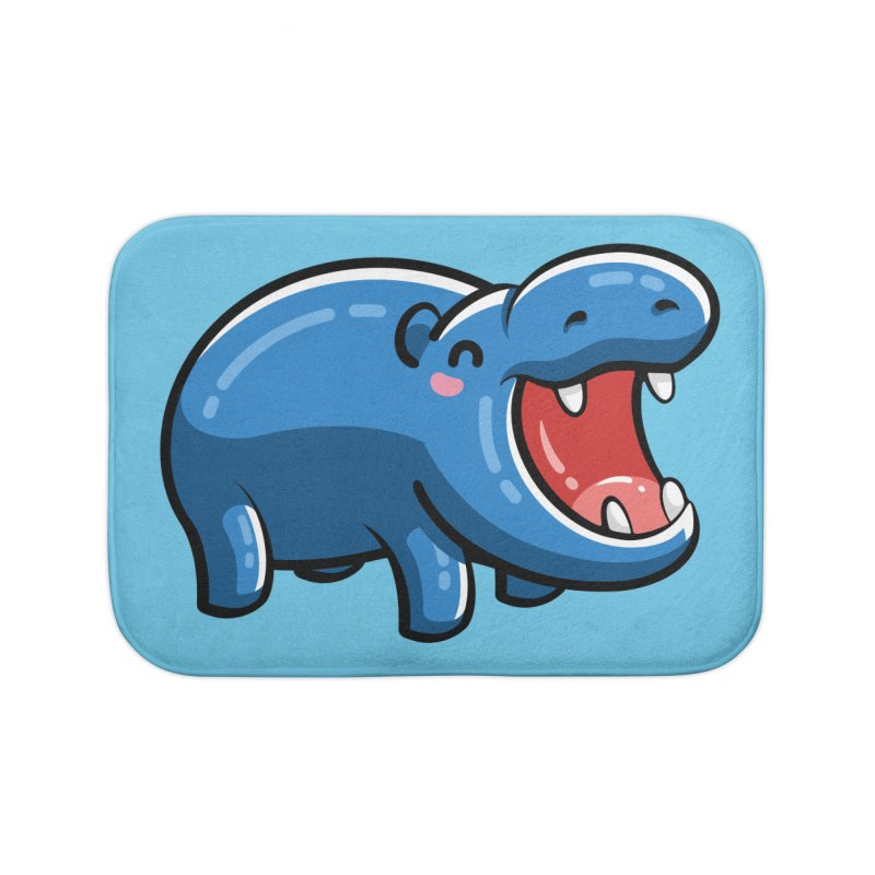 Cute Happy Hippo Home Bath Mat by Flaming Imp's Artist Shop