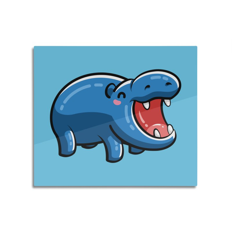 Cute Happy Hippo Home Mounted Acrylic Print by Flaming Imp's Artist Shop