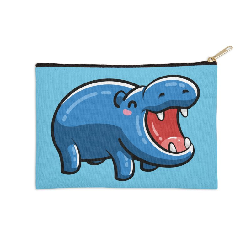 Cute Happy Hippo Accessories Zip Pouch by Flaming Imp's Artist Shop