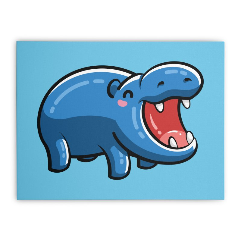 Cute Happy Hippo Home Stretched Canvas by Flaming Imp's Artist Shop