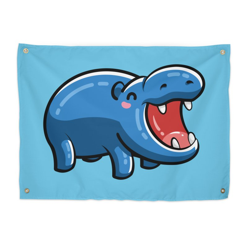 Cute Happy Hippo Home Tapestry by Flaming Imp's Artist Shop