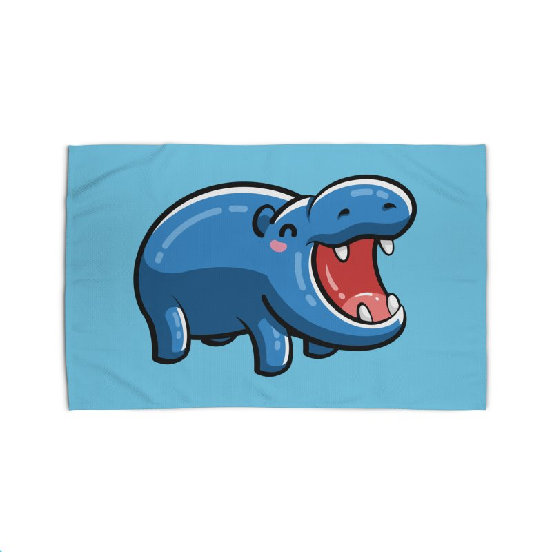 Cute Happy Hippo Home Rug by Flaming Imp's Artist Shop