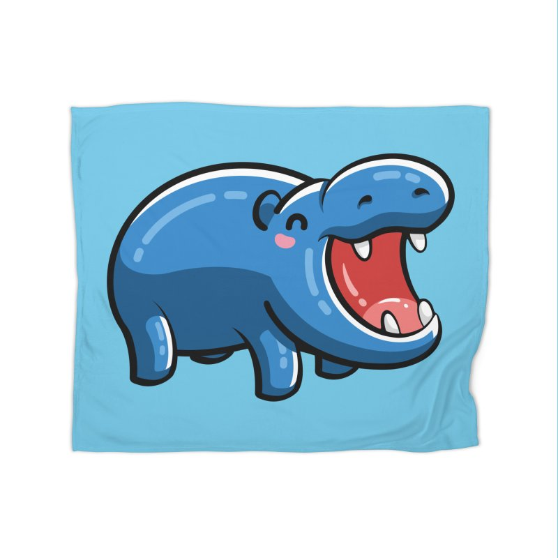 Cute Happy Hippo Home Fleece Blanket Blanket by Flaming Imp's Artist Shop