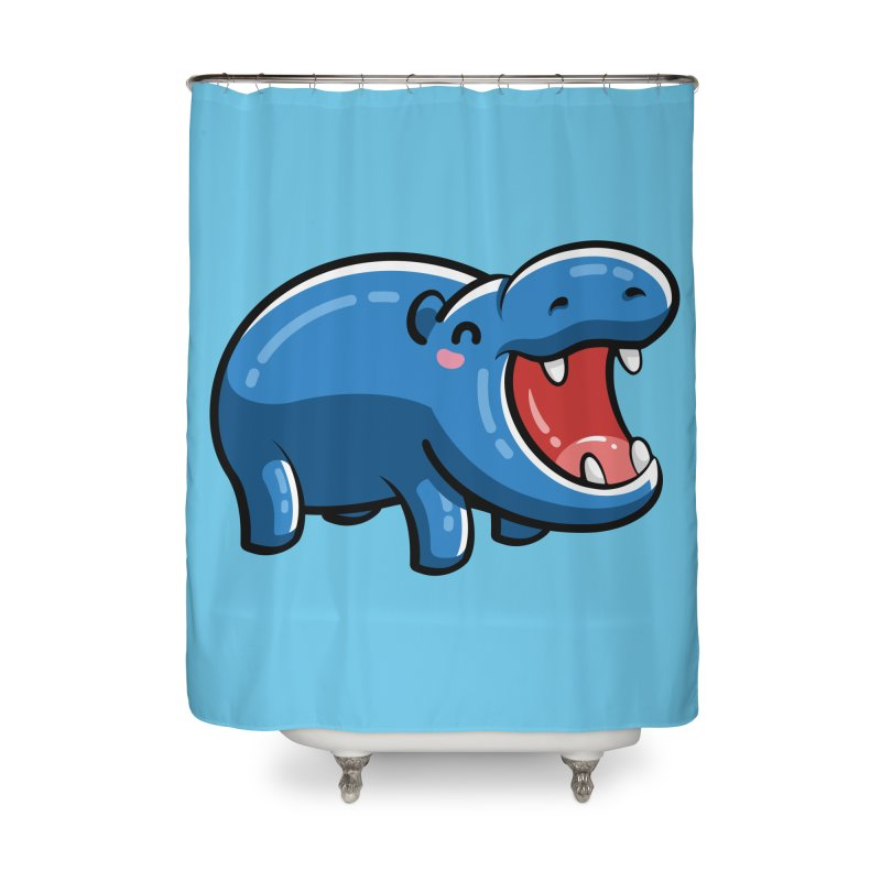 Cute Happy Hippo Home Shower Curtain by Flaming Imp's Artist Shop