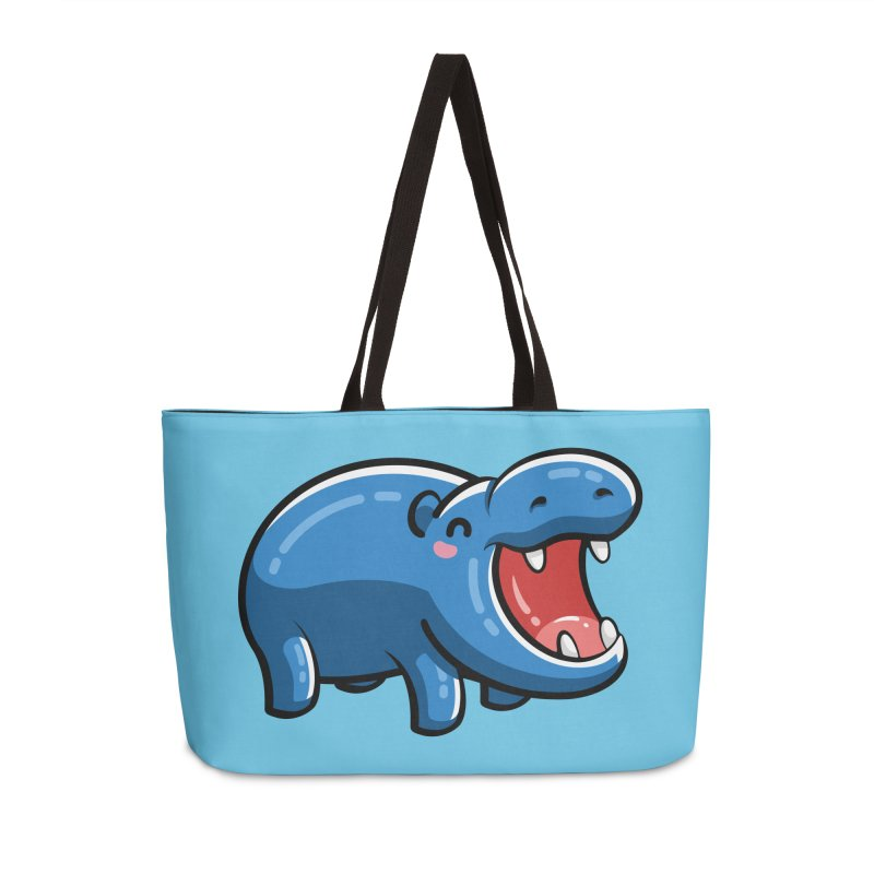 Cute Happy Hippo Accessories Weekender Bag Bag by Flaming Imp's Artist Shop