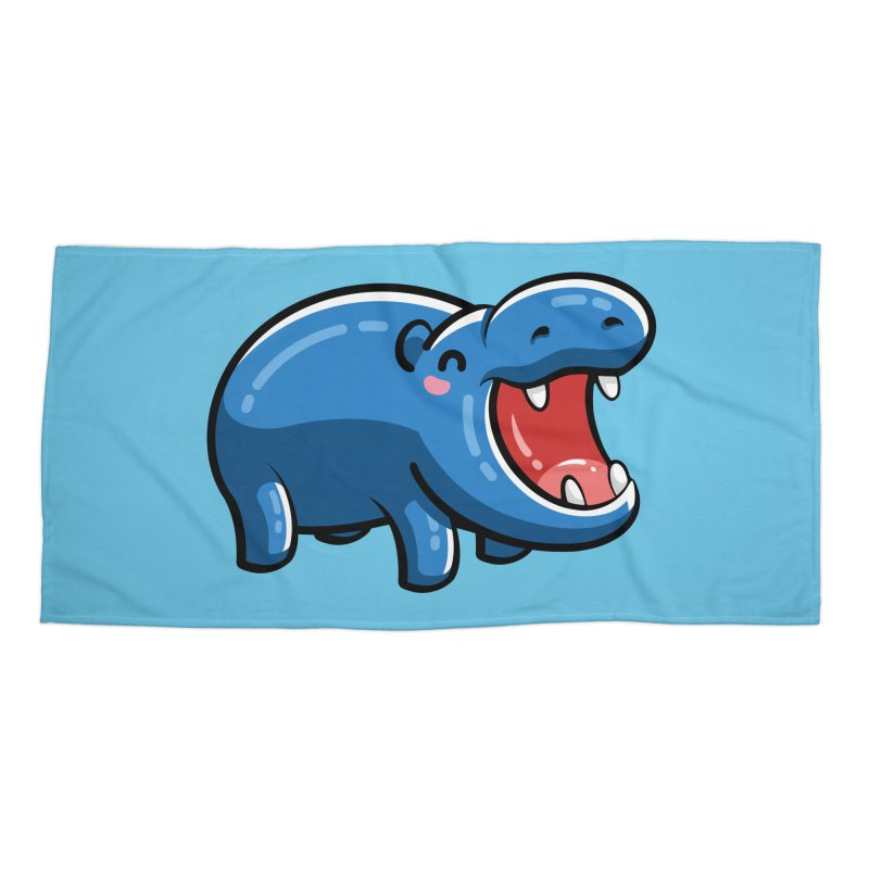 Cute Happy Hippo Accessories Beach Towel by Flaming Imp's Artist Shop
