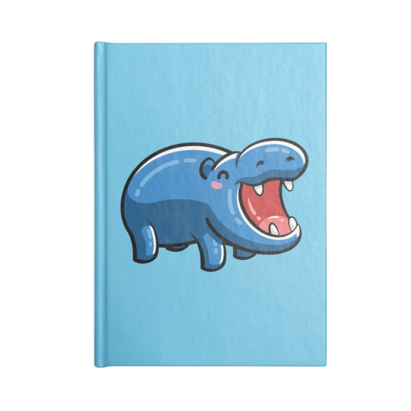 Cute Happy Hippo Accessories Lined Journal Notebook by Flaming Imp's Artist Shop