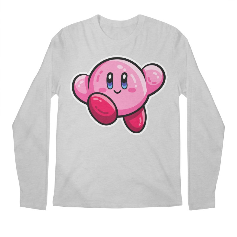 Kawaii Cute Kirby Men's Regular Longsleeve T-Shirt by Flaming Imp's Artist Shop