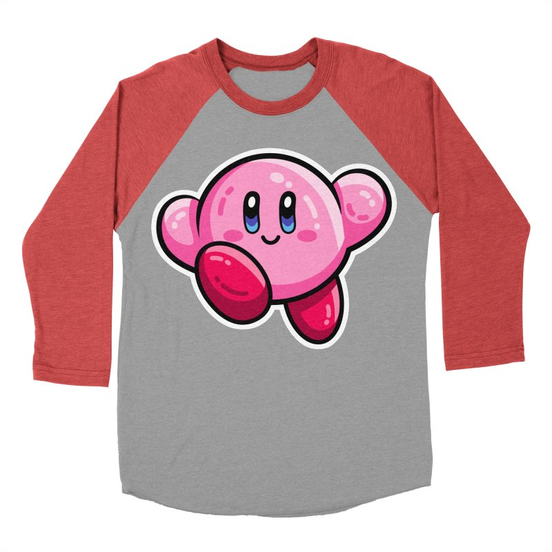 Kawaii Cute Kirby Men's Baseball Triblend Longsleeve T-Shirt by Flaming Imp's Artist Shop