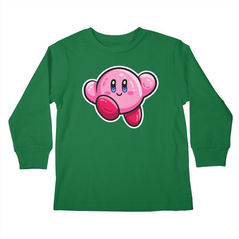 Kawaii Cute Kirby Kids Longsleeve T-Shirt by Flaming Imp's Artist Shop