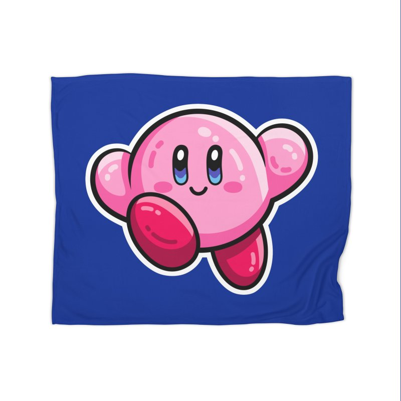 Kawaii Cute Kirby Home Fleece Blanket Blanket by Flaming Imp's Artist Shop