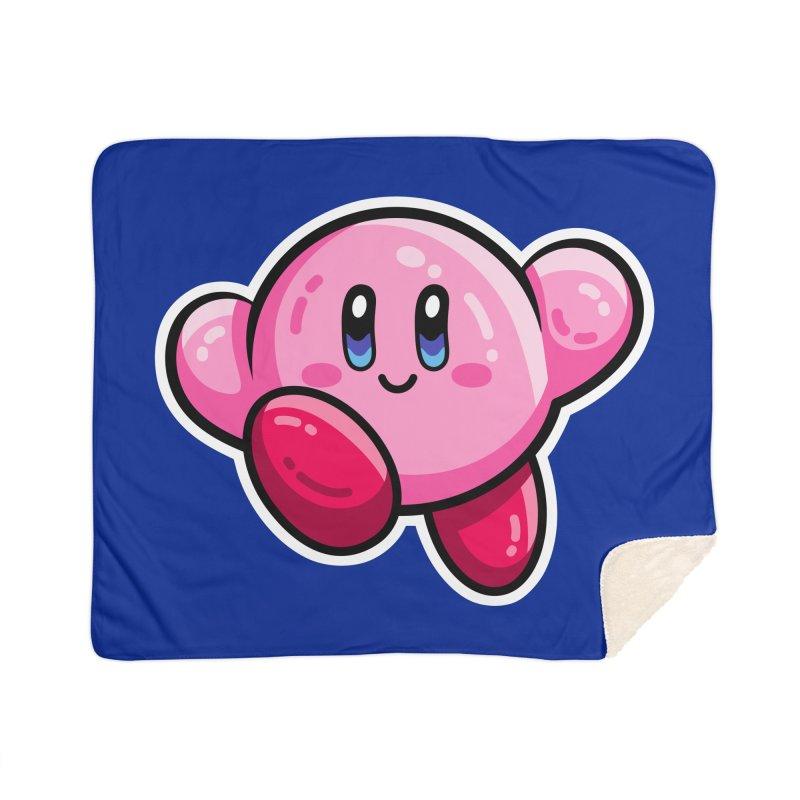 Kawaii Cute Kirby Home Sherpa Blanket Blanket by Flaming Imp's Artist Shop