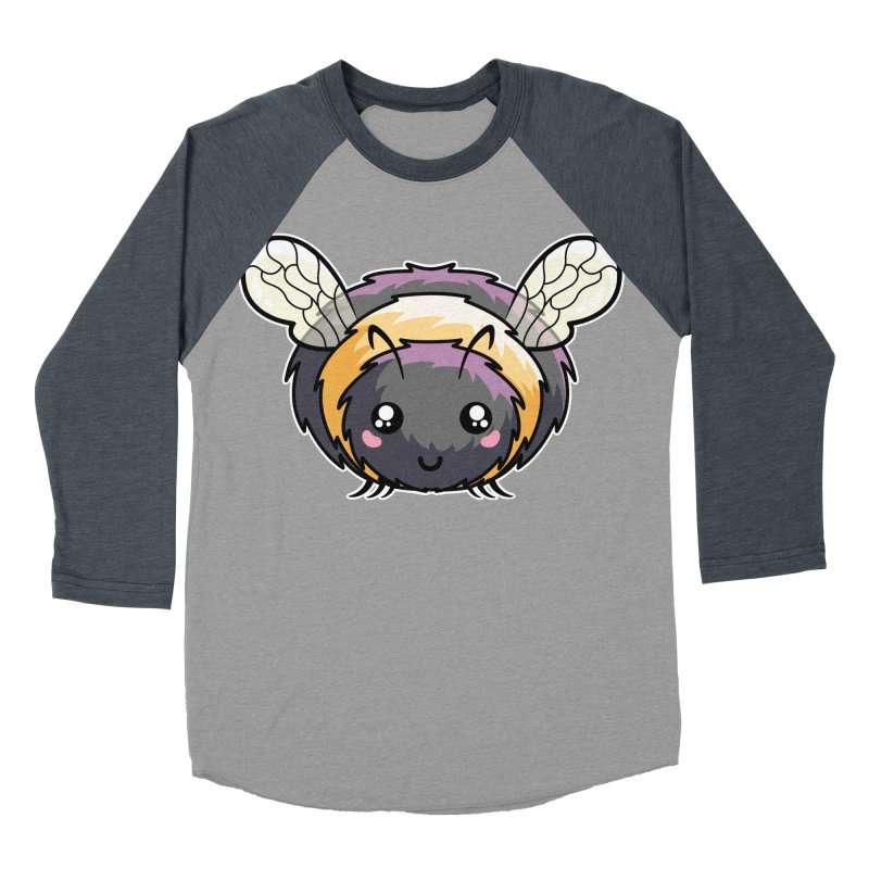 Kawaii Cute Bee Women's Baseball Triblend Longsleeve T-Shirt by Flaming Imp's Artist Shop
