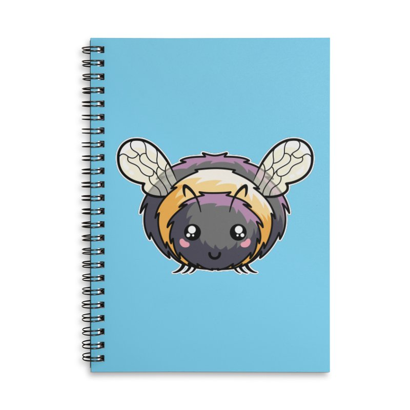 Kawaii Cute Bee Accessories Lined Spiral Notebook by Flaming Imp's Artist Shop