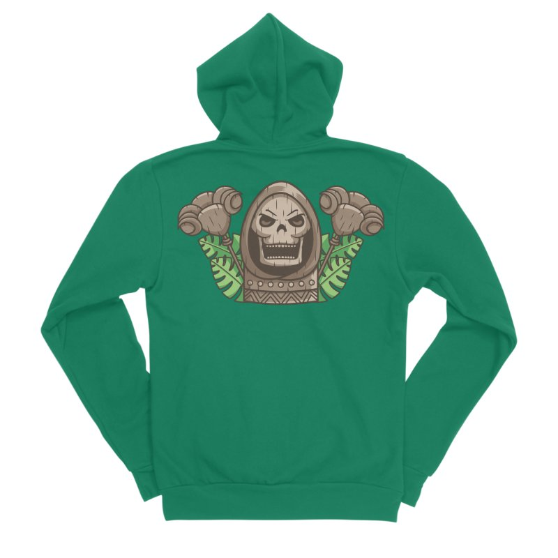 Skeletor Tiki Women's Sponge Fleece Zip-Up Hoody by Flaming Imp's Artist Shop