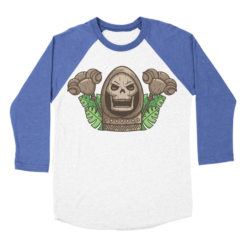 Skeletor Tiki Men's Baseball Triblend Longsleeve T-Shirt by Flaming Imp's Artist Shop