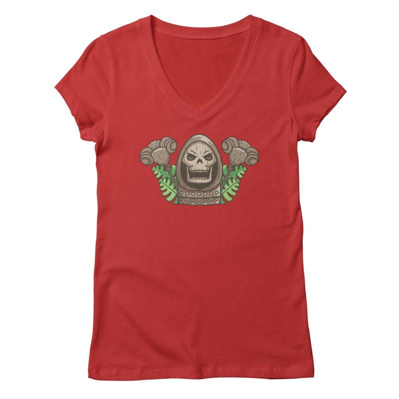 Skeletor Tiki Women's Regular V-Neck by Flaming Imp's Artist Shop