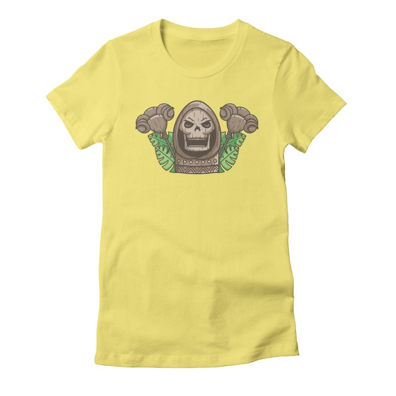 Skeletor Tiki Women's Fitted T-Shirt by Flaming Imp's Artist Shop