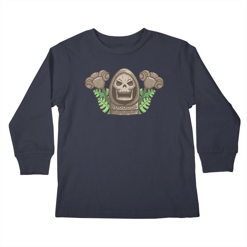 Skeletor Tiki Kids Longsleeve T-Shirt by Flaming Imp's Artist Shop