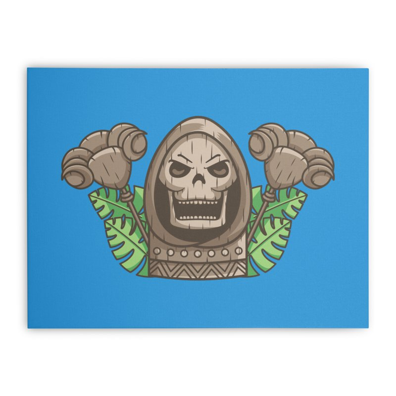 Skeletor Tiki Home Stretched Canvas by Flaming Imp's Artist Shop
