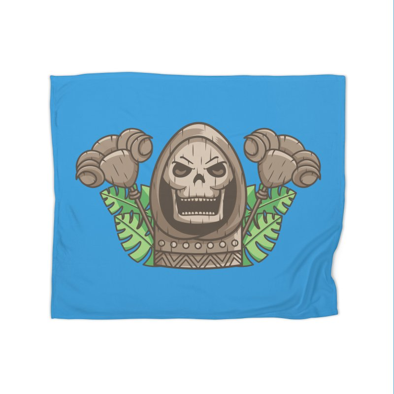 Skeletor Tiki Home Fleece Blanket Blanket by Flaming Imp's Artist Shop