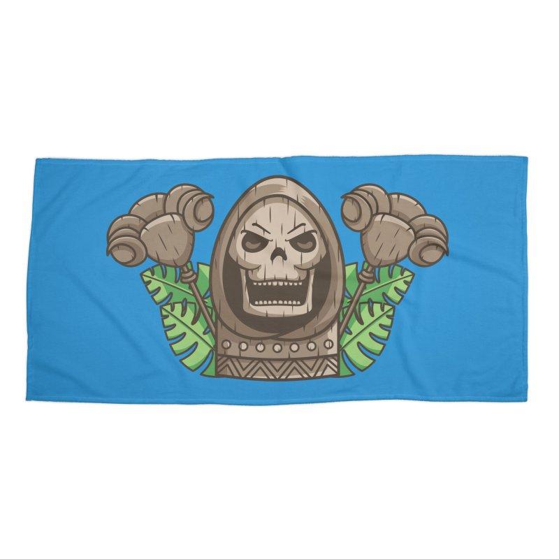 Skeletor Tiki Accessories Beach Towel by Flaming Imp's Artist Shop