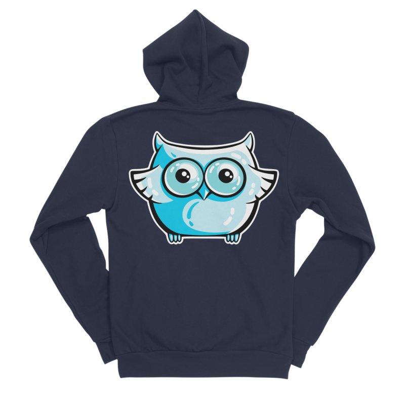 Blue Cute Owl Women's Sponge Fleece Zip-Up Hoody by Flaming Imp's Artist Shop