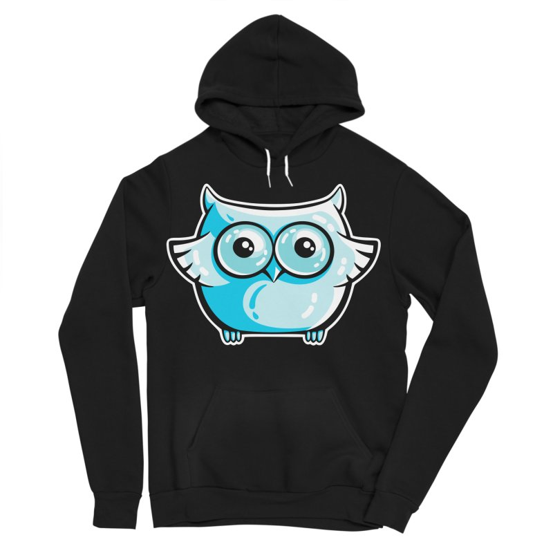 Blue Cute Owl Women's Sponge Fleece Pullover Hoody by Flaming Imp's Artist Shop