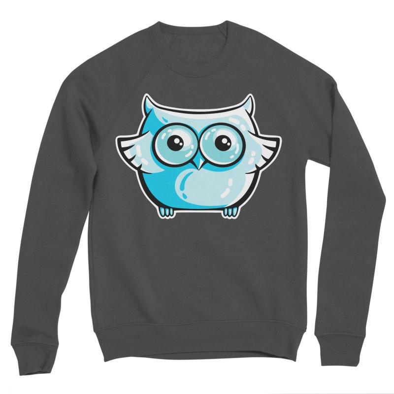 Blue Cute Owl Women's Sponge Fleece Sweatshirt by Flaming Imp's Artist Shop