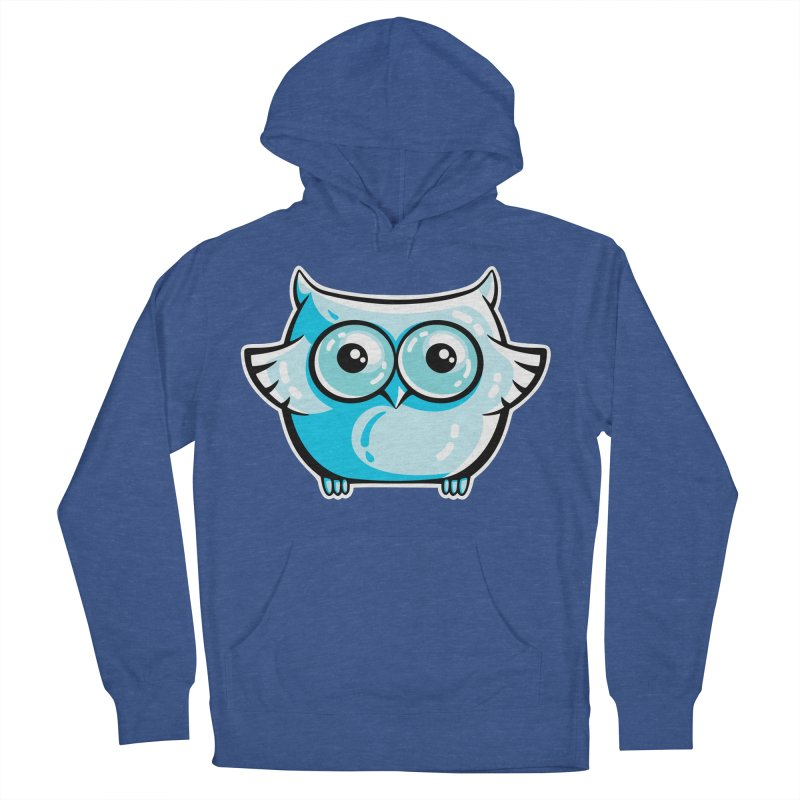 Blue Cute Owl Women's French Terry Pullover Hoody by Flaming Imp's Artist Shop