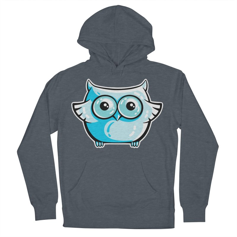 Blue Cute Owl Men's French Terry Pullover Hoody by Flaming Imp's Artist Shop