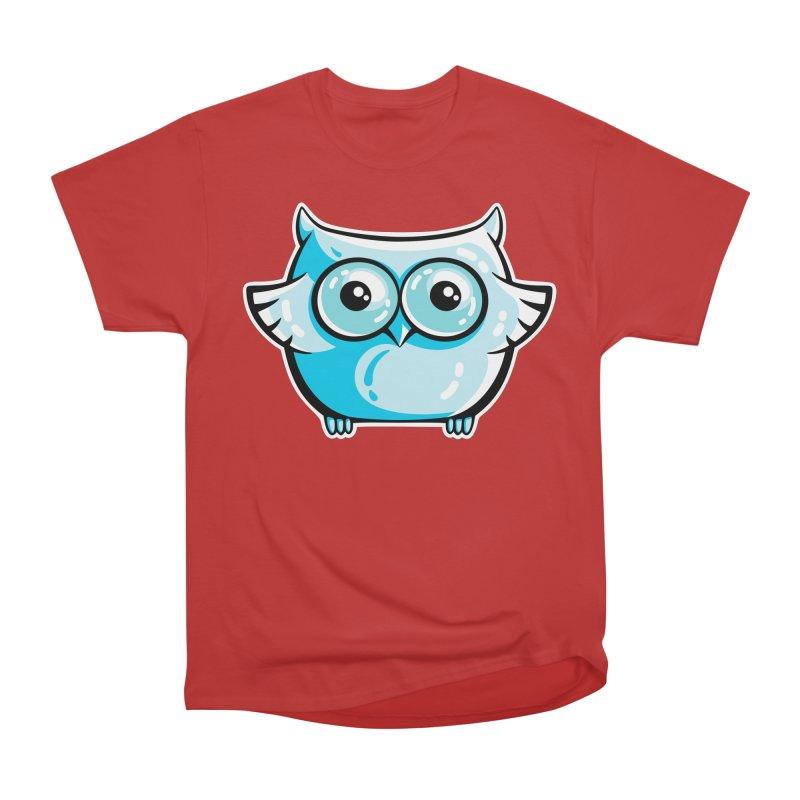 Blue Cute Owl Men's Heavyweight T-Shirt by Flaming Imp's Artist Shop