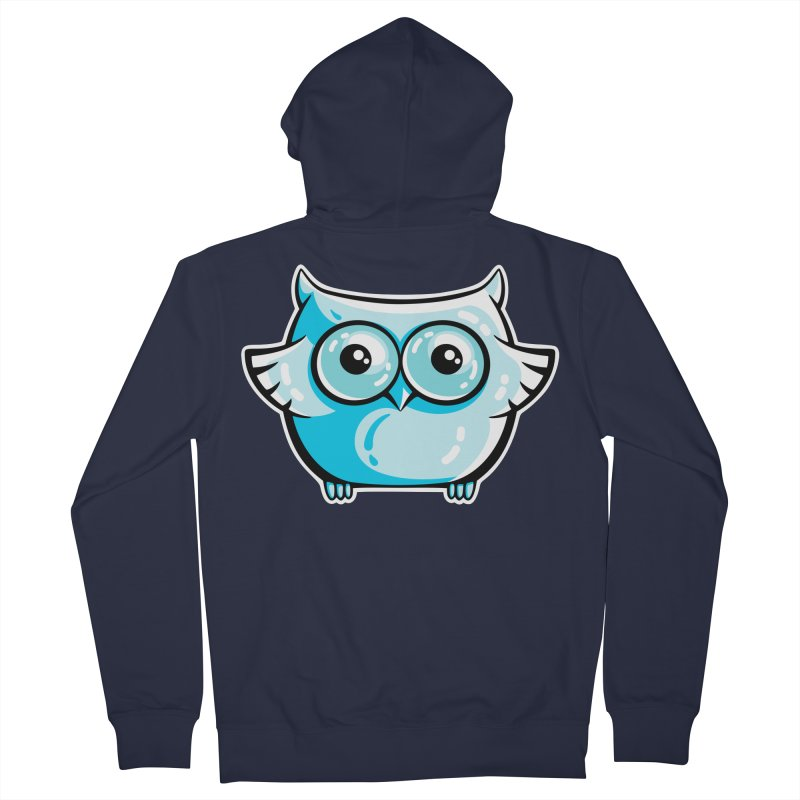 Blue Cute Owl Women's French Terry Zip-Up Hoody by Flaming Imp's Artist Shop