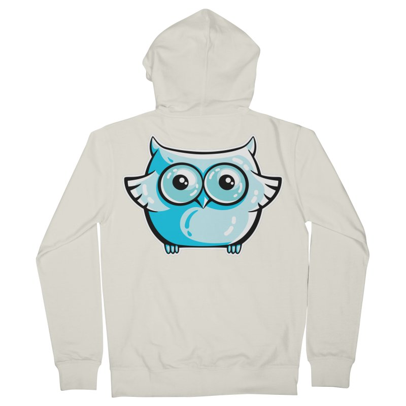 Blue Cute Owl Men's French Terry Zip-Up Hoody by Flaming Imp's Artist Shop